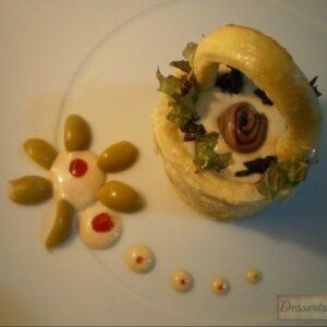 Cestitas de pollo con crema de anchoas y alcaparras